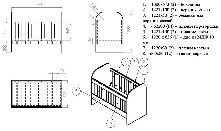 Как сделать чертежи детской кровати из лдсп своими руками