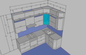 Какой по стандарту должна быть глубина верхних шкафов на кухне